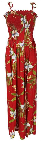 "Pali Orchid Red - 45"" Tube Top Dress - 100% Rayon - All Clothes Hawaiian"