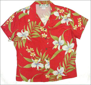 Pali Orchid Red - Women's Blouse - 100% Rayon - All Clothes Hawaiian