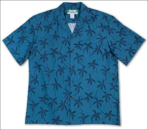 Palm Tree Blue - Hawaiian Aloha Rayon Shirt - All Clothes Hawaiian