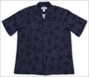 Palm Tree in Blackish Blue Hawaiian Aloha Rayon Shirt - All Clothes Hawaiian