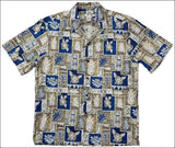 Pineapple Block Khaki Hawaiian Aloha Cotton Shirt - All Clothes Hawaiian