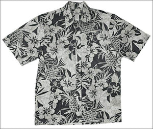 Pineapple Fest Black - Men's Short Sleeve - Reverse Print - All Clothes Hawaiian