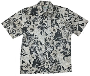 Pineapple Garden Black - Vintage Style 100% Cotton - All Clothes Hawaiian
