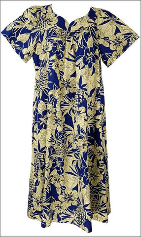 Pineapple Garden Navy Blue - MuuMuu Hawaiian Cotton Dress - All Clothes Hawaiian