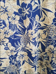 Pineapple Garden Navy - Hawaiian Aloha Cotton Shirt - All Clothes Hawaiian