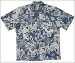 "Pineapple Garden Navy - Men's Short Sleeve - Retro ""Vintage"" Print - All Clothes Hawaiian"