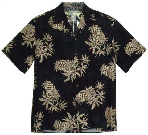 Pineapple Map Black - 100% Rayon - Hawaiian Aloha Shirt - All Clothes Hawaiian