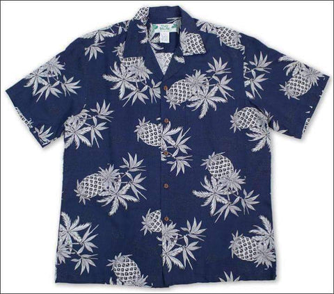 Pineapple Map Navy - Hawaiian Aloha Rayon Shirt - All Clothes Hawaiian