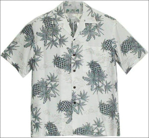 Pineapple Map White - Hawaiian Aloha Rayon Shirt - All Clothes Hawaiian