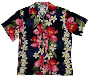 Plumeria Orchid Navy (Boys) Short Sleeve - 100% Rayon - All Clothes Hawaiian