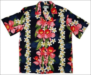 Plumeria Orchid Panel Navy - Hawaiian Aloha Rayon Shirt - All Clothes Hawaiian