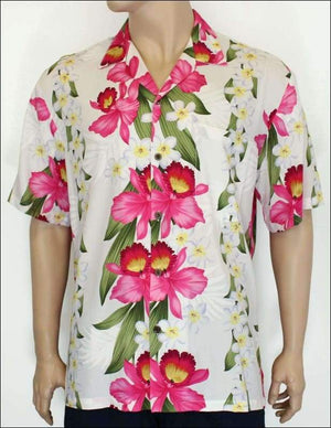 Plumeria Orchid Panel White - Ahola Rayon Shirt - All Clothes Hawaiian