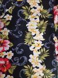 Plumeria Panel Black - Short Sleeve - 100% Cotton - All Clothes Hawaiian
