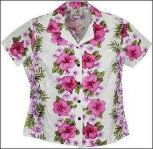 Plumeria Panel White Blouse - 100% Cotton - All Clothes Hawaiian