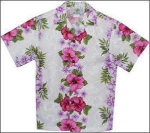 Plumeria Panel White - Boys Short Sleeve - 100% Rayon - All Clothes Hawaiian