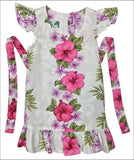 Plumeria Panel White - Girls Dress - 100% Cotton - All Clothes Hawaiian
