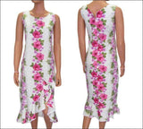 Plumeria Panel White - Mid Length Dress - 100% Cotton - All Clothes Hawaiian