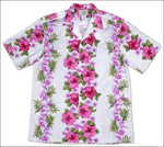 Plumeria Panel White - Short Sleeve - 100% Cotton - All Clothes Hawaiian