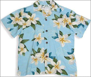 Plumeria Shower Blue - Boys Short Sleeve - 100% Rayon - All Clothes Hawaiian