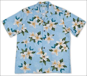 Plumeria Shower Blue -Hawaiian Aloha Rayon Shirt - All Clothes Hawaiian