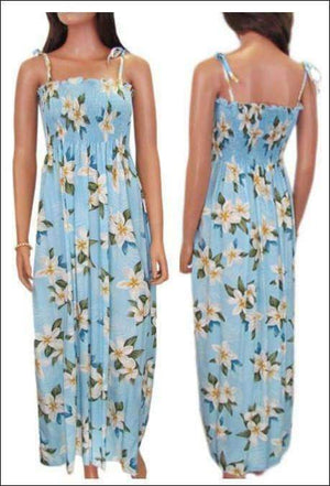 "Plumeria Shower Lt Blue - 45"" Tube Top Dress - 100% Rayon - All Clothes Hawaiian"