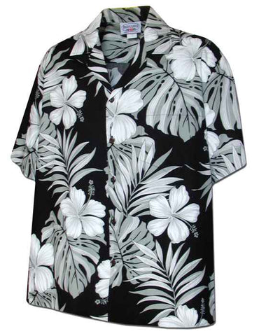 Pua Nani Black (Happy Flowers) 100% Cotton - All Clothes Hawaiian