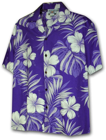 Pua Nani Purple (Happy Flowers) 100% Cotton - All Clothes Hawaiian