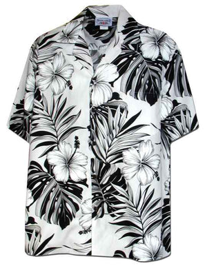 Pua Nani White (Happy Flowers) 100% Cotton - All Clothes Hawaiian