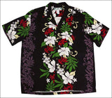 Rene Panel Black - Hawaiian Aloha Rayon Shirt - All Clothes Hawaiian