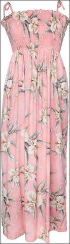 "Retro Orchid Pink Long Elastic Tube Top Dress 45"" - 100% Rayon - All Clothes Hawaiian"