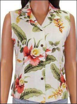 Sleeveless Sonic Beige Blouse - 100% Rayon - All Clothes Hawaiian