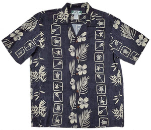 Squares Black Hawaiian Rayon Short Sleeve - All Clothes Hawaiian