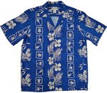 Squares Blue Hawaiian Rayon Short Sleeve - All Clothes Hawaiian