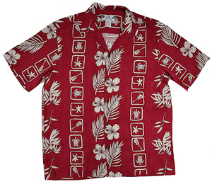 Squares Red Hawaiian Rayon Short Sleeve - All Clothes Hawaiian