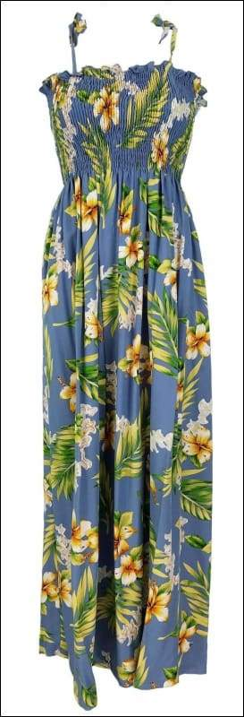 "Tuberose Blue - 45"" Tube Top Dress - 100% Rayon - All Clothes Hawaiian"