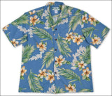 Tuberose Blue Hawaiian Aloha Rayon Shirt - All Clothes Hawaiian