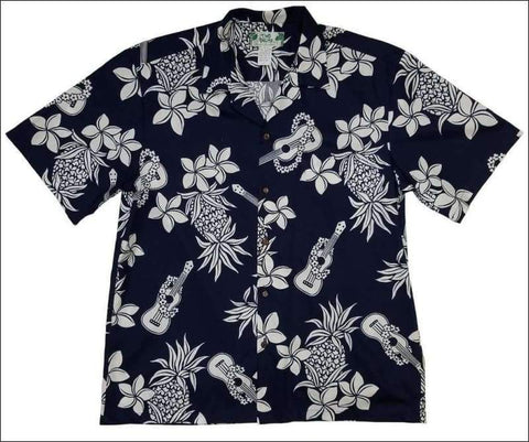 Ukulele Navy Hawaiian Aloha Cotton Shirt - All Clothes Hawaiian
