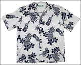Ukulele White Hawaiian Aloha Cotton Shirt - All Clothes Hawaiian