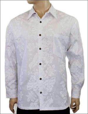 Wedding Shirt Hibiscus Panel White - 100% Cotton - All Clothes Hawaiian