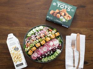 Chopped Salad with Garlic & Basil Millet Tots and Elmhurst Creamy Ranch