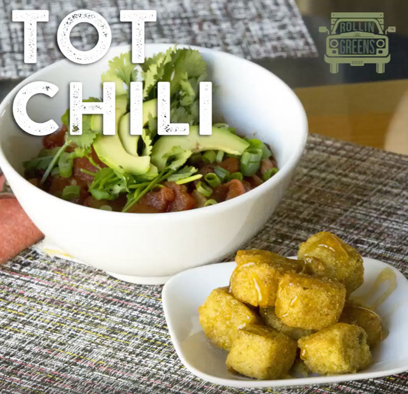 Tot Veggie Chili recipe. Great for the whole family and gameday snack!