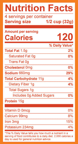 Plant-based Ground Taco Pack Nutrition Label