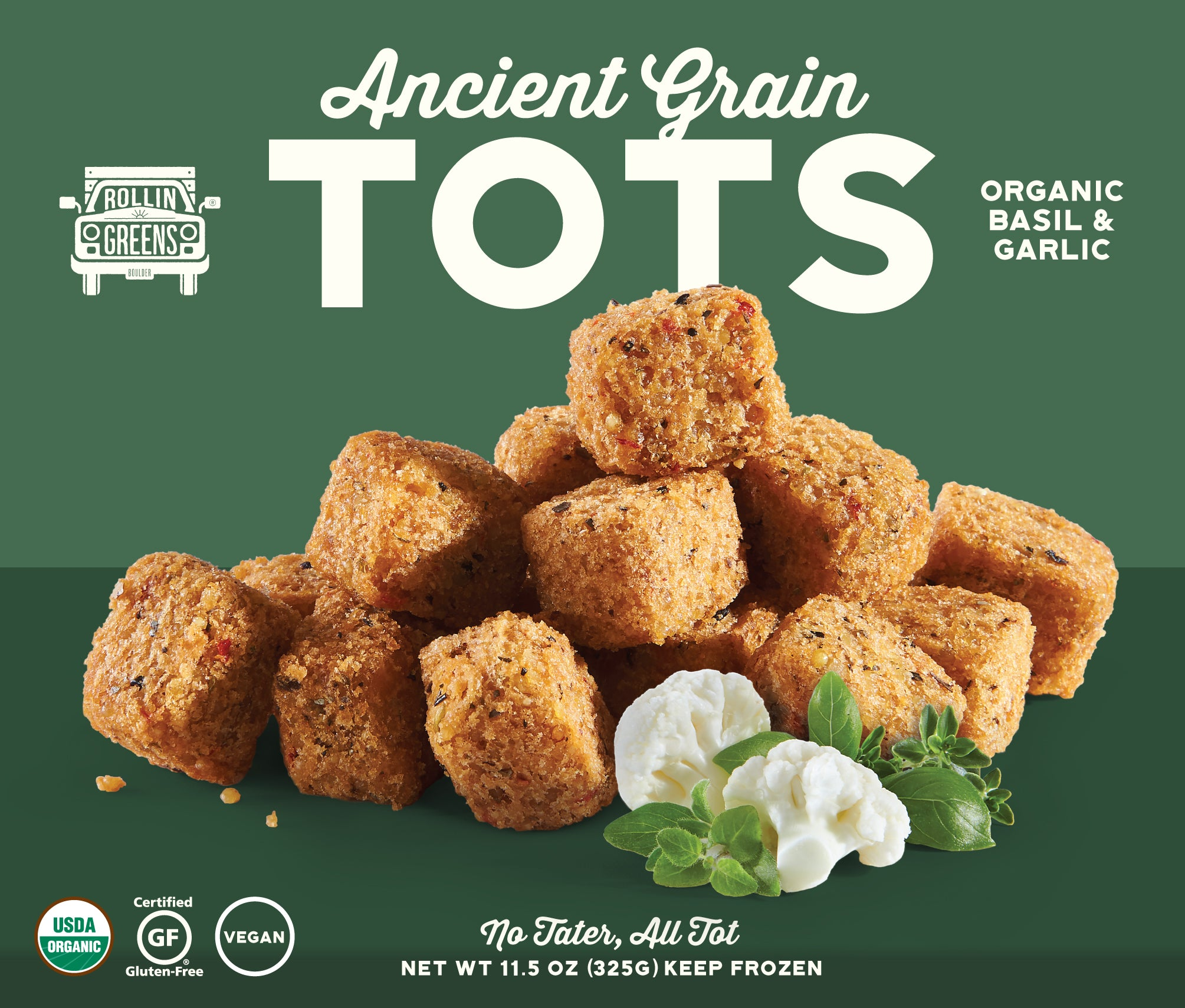 Organic Basil & Garlic Ancient Grain Tots