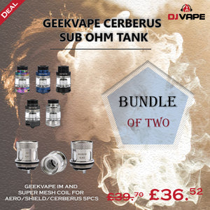 BUNDLE OF TWO- GEEKVAPE CERBERUS SUBOHM TANK with GEEKVAPE IM AND SUPER MESH COIL FOR AERO/SHIELD/CERBERUS 5PCS