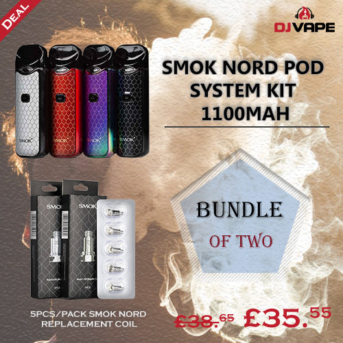 SMOK NORD POD SYSTEM KIT 1100MAH WITH 5PCS/PACK SMOK NORD REPLACEMENT COIL-BUNDLE OF TWO