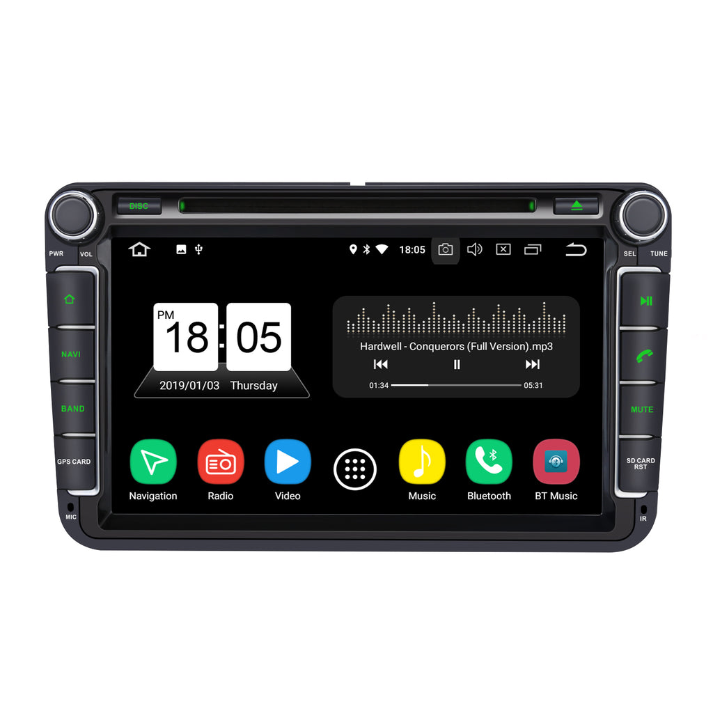 Pumpkin Android 8.0 Car Stereo Radio for VW Skoda Seat Series with 8 Inch Touchscreen Double Din Octa-Core Support GPS Navi Bluetooth RAM:4GB + ROM:32GB