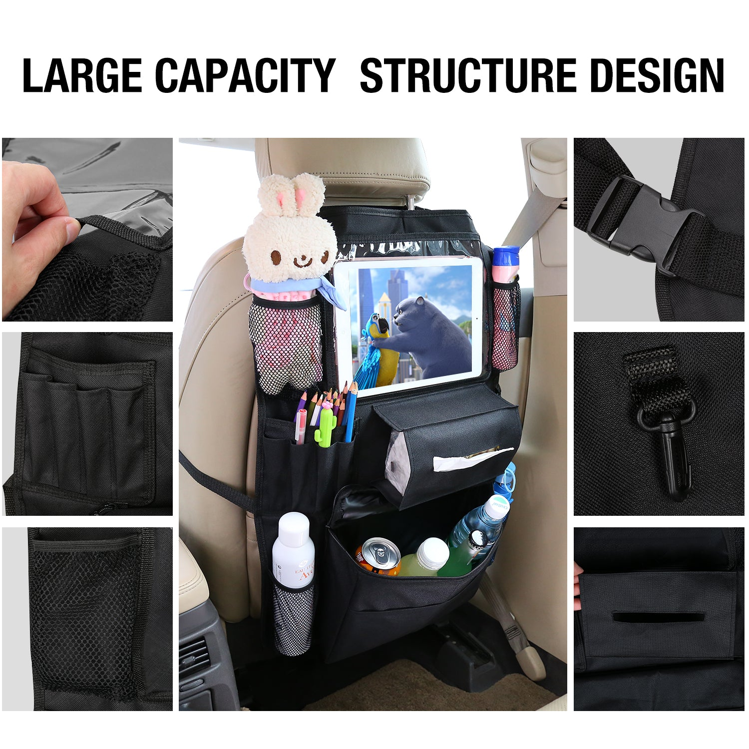 Car Seat Back Organizer with Cooler Bag, Car Back of Seat Storage Organizer Protector Pocket with Delicated Tablet Holder and Cup Holder, 2 Pcs Hangers Included