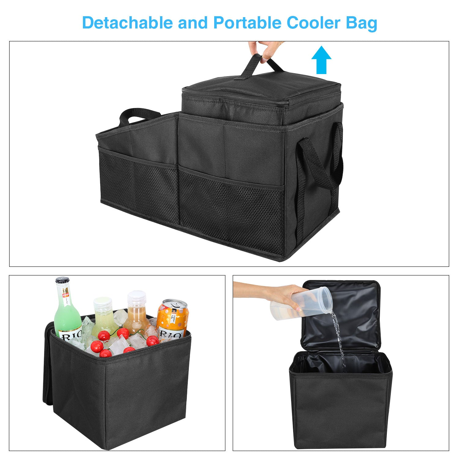Foldable Car Front Seat Organizer with Detachable Leakproof Cooler Bag/Car Console Organizer Storage Bins Box with Divider Compartment Featuring 6 Outside Mesh Pockets, Road Trip Essentials