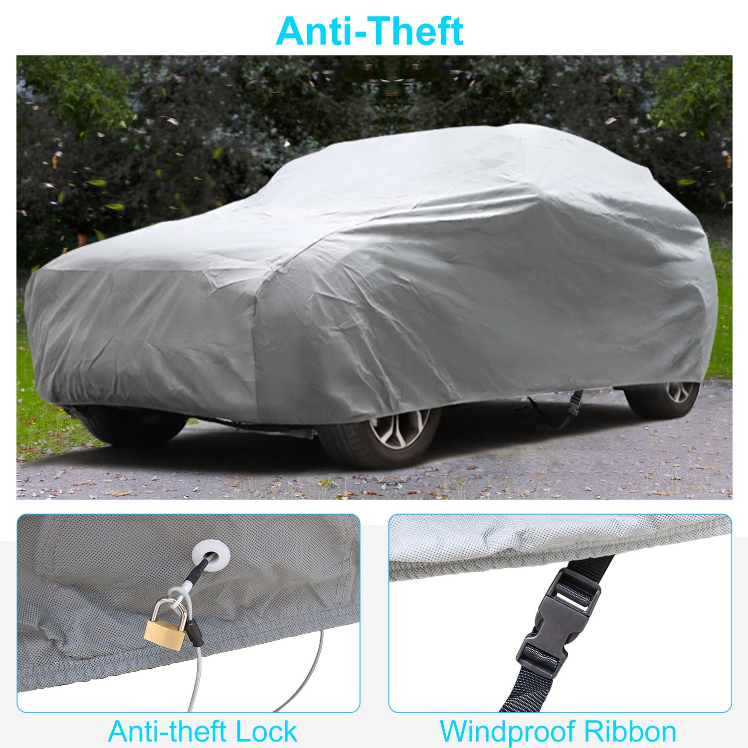 "SUV Cover Waterproof 5 Layers Windproof Waterproof for Indoor Outdoor, All Weather Covers for Car, Windproof Ribbon & Anti-theft Lock, Fits 181""-202"" SUV"