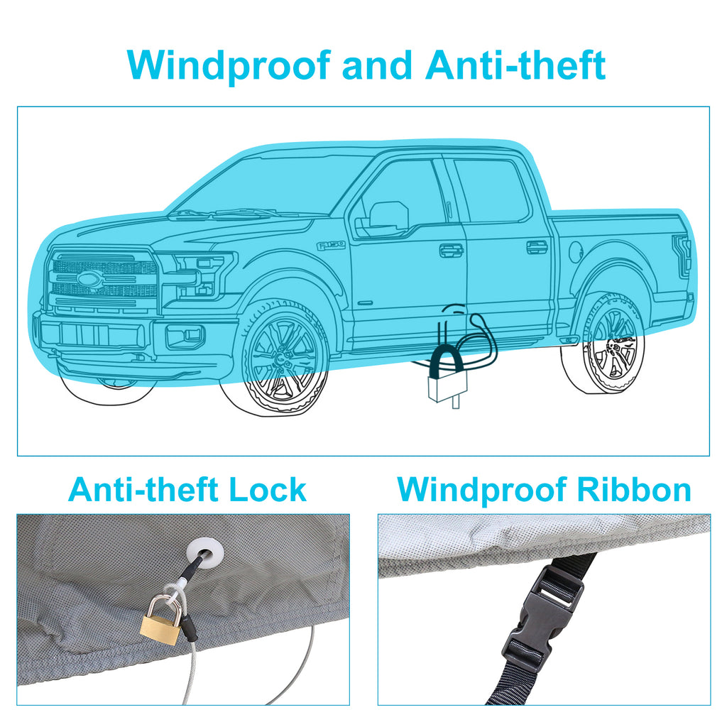 Truck Cover for Ford F150 2001-2017, 6 Layers All Weather Waterproof, Windproof Dustproof Scratch Proof F150 Outdoor Car Cover, Free Windproof Ribbon & Anti-theft Lock